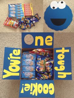"""You're one tough cookie!"" : Cookie care package. Different variation of a care package I found on Pinterest a couple days ago, perfect for military care packages, missionary care packages, and college care packages. Inside, I included different types of cookies, as well as a homemade Cookie Monster card :)"