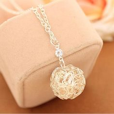 Silver Plated Hollow Ball Pendants Necklaces Chain For Women