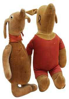 """Pooh and Piglet plush dolls  Stuffed toys with presentation inscriptions by A. A. Milne in ink on the left foot, """"To Babs [Seligman]"""" and on the right foot, """"from A. A. Milne"""". These dolls – apparently prototypes preceding the first publicly manufactured Pooh toys – are the earliest products of one of the first and most successful licensing deals ever made"""