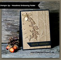 Woodland Embossing Folder Masculine Birthday Stampin Up Woodland Male Birthday card by Sandi @ Stampin Up Woodland Male Birthday card by Sandi @ Masculine Birthday Cards, Birthday Cards For Men, Handmade Birthday Cards, Greeting Cards Handmade, Male Birthday, Masculine Cards, Fall Cards, Holiday Cards, Christmas Cards