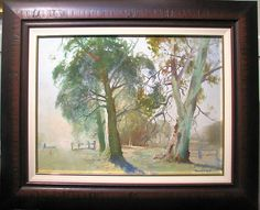Australian Artist Ronald Bull s original oil titled Summer Haze, Yea Australian Artists, Worlds Largest, Trees, Oil, The Originals, Summer, Painting, Summer Time, Tree Structure