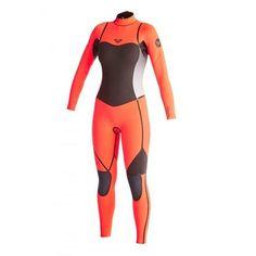 Roxy Women Wetsuit Syncro LFS 4/3 Back Zip Steamer - Black/Tropical Pink