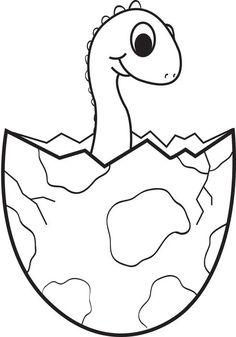 Cartoon Baby Dinosaur Coloring Page