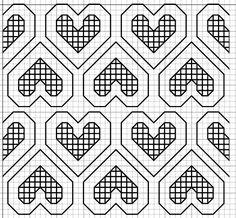 haft blackwork // free blackwork embroidery fill pattern hearts