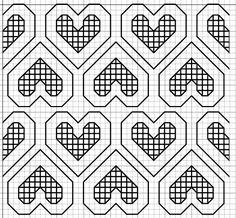 haft blackwork // free blackwork embroidery fill pattern hearts