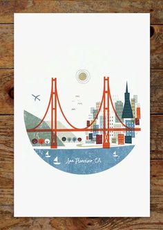 11x14 Colorful City, San Francisco Skyline, Art Print by groovygravy on Etsy https://www.etsy.com/listing/189055983/11x14-colorful-city-san-francisco