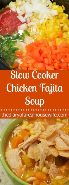 Slow Cooker Chicken Fajita Soup. My all time FAVORITE soup recipe. No really I could eat this stuff every single day. I love it.