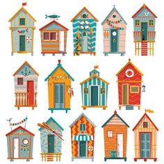 14 various multi-colored Beach Huts. Vector illustration in 2019 Beach Huts Art, Beach Art, House Illustration, Illustrations, Beach Illustration, Beach Cabana, Beach Shack, Free Vector Art, Vector Graphics