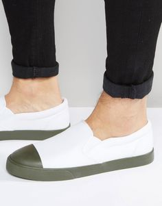 Image 1 of ASOS Slip on Sneakers in White Canvas With Khaki Sole