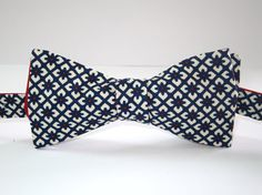 Mens Bowtie  Navy and Red pattern  self tie classic by JustBowties, $28.00