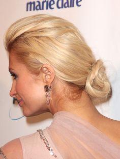 Paris Hiltons chic, bun hairstyle