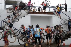 The concrete stairs at Alpenrose Velodrome, the venue for the opening weekend of the Cross Crusade races #inoregon