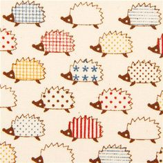 cute hedgehog animal oxford fabric by Kokka from Japan