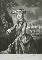October    For October, she is dressed for hunting. She holds up a whip to point out a rabbit that seems to be suspended from a tree and holds out her hand for a hound to sniff, giving it the scent. In the background a gentleman on horseback leads the lady's mount.