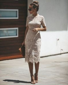 Lovely Lace Dress Outfit Ideas For Women 29 Midi Dress With Sleeves, Lace Midi Dress, Midi Dresses, Lace Dresses, Club Dresses, Prom Dresses, Midi Dress Outfit, Lace Dress Outfits, Long Cocktail Dress