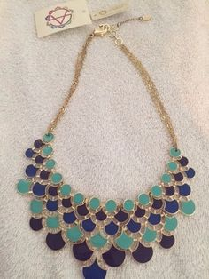 GORGEOUS AMRITA SINGH GOLD TONED OMBRE TURQUOISE BIB NECKLACE- NEW W/ TAGS…