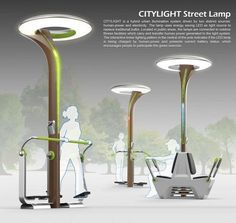 CITYLIGHT is a hybrid urban illumination system driven by human-power and electricity. Located in public areas, the lamps are connected to outdoor fitness facilities which carry and transfer human power generated to the light system.