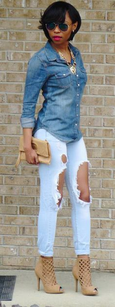 Denim Days by LST Style .but the jeans aren't for me Still love it I Love Fashion, Denim Fashion, Passion For Fashion, Autumn Fashion, Fashion Looks, Womens Fashion, Looks Style, My Style, Hair Style