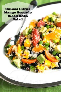 Quinoa Citrus Mango Avocado Black Bean Salad - so much good stuff in here! Sweeten the citrusy dressing to taste with stevia, if you like.