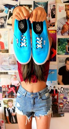 VANS! high waisted shorts, the top, the long brown hair <3 <3