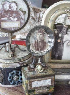 """assemblages by Cheryl Kuhn of """"small stories studio""""..."""
