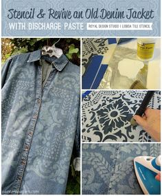 Discharge Paste removes the dye from natural fiber fabrics & is easy to stencil with. See how you can revive an old denim jacket using Discharge Paste. Diy Clothing, Clothing Patterns, Craft Robo, Bleached Denim Jacket, Scene Outfits, Teenage Girl Outfits, Old Jeans, Clothes Crafts, How To Dye Fabric