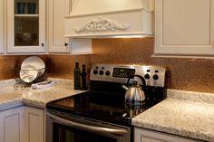 Fasade Panels Hammered Polished Copper Kitchen Backsplash