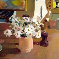 Daisies, oil on canvas, by Charles Reid