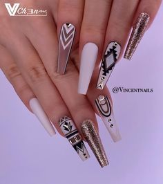 No photo description available. Acrylic Nail Designs, Nail Art Designs, Acrylic Nails, Nails Design, Diy Nails, Swag Nails, Nail Nail, Nails Polish, How To Grow Nails