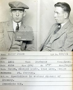 James Casey    This mug shot comes from a police identification book believed to be  from the 1930s. It was originally found in a junk shop by a member of  the public and subsequently donated to Tyne & Wear Archives & Museums.  No information is available to confirm which police force compiled it  but evidence suggests it's from the Newcastle upon Tyne area.
