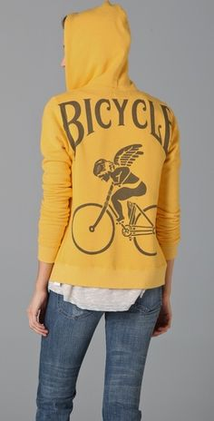 A mustard yellow bicycle hoodie is totally up my alley. #style #bicycling