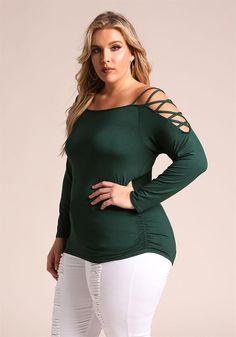 Plus Size Clothing | Plus Size Shoulder Cross Strap Knit Top | Debshops