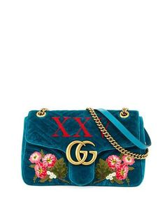 V3LN9 Gucci 110th Anniversary GG Marmont Small XXV Velvet Shoulder Bag