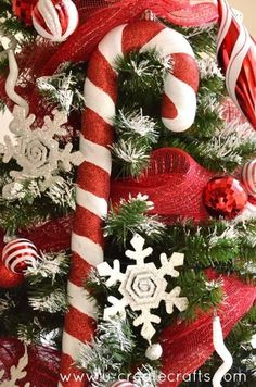 Giant Candy Cane Ornaments at UCreate Christmas Tree With Snow, Noel Christmas, Christmas Candy, White Christmas, Vintage Christmas, Christmas Wreaths, Christmas Crafts, Christmas Ornaments, Christmas Sweets