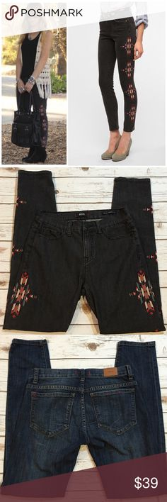 "BDG High Rise Cigarette Ankle Jeans BDG high rise cigarette ankle jeans with embroidery on both sides on washed black color. Size 28/ length 30"" Urban Outfitters Jeans Skinny"