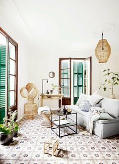 Here we showcase a a collection of perfectly minimal interior design examples for you to use as inspiration. Check out the previous post in the series: 37 Boho Living Room, Home And Living, Living Spaces, Boho Room, Simple Living, Interior Design Examples, Design Ideas, Green Shutters, Wooden Shutters