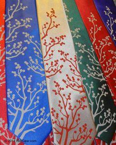 Wedding neckties set of 6 mens ties Winter Berries  by RokGear, $135.00