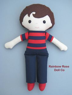 Boy Rag Doll Pattern PDF Cloth Doll Pattern by rainbowrosedollco