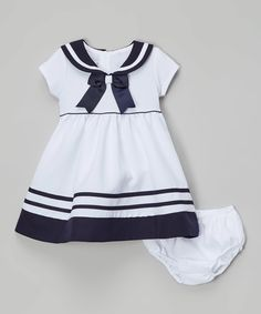 Look at this Gerson & Gerson White & Navy Nautical Bow Dress - Infant & Toddler on #zulily today!