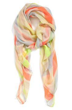 New favorite for spring! Lightweight neon stripe scarf.