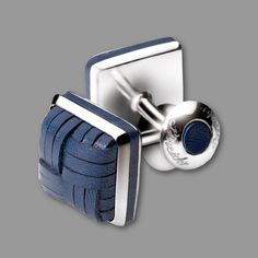 PINEIDER CUFFLINKS - SILVER AND BRAIDED LEATHER MI1604