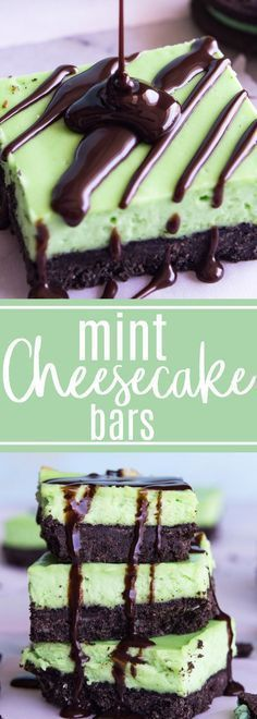 Mint Cheesecake Bars A cool and creamy mint cheesecake baked on top of a mint oreo crust Drizzle with some extra chocolate for a decadent treat The fun green color makes. Party Desserts, Just Desserts, Delicious Desserts, Green Desserts, Mint Cheesecake, Cheesecake Recipes, Mint Chocolate Cheesecake, Chocolate Tarts, Chocolate Desserts