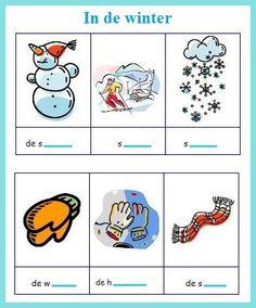 Woordenschatoefening : in de winter. Weet je het nog? Probeer de woorden te vinden. & OPLOSSINGEN : de sneeuwpop, de sneeuwman / skiën / sneeuwen / de waten / de handschoenen / de sjaal