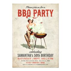 Vintage BBQ Birthday Invitation