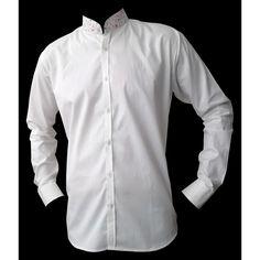 Chemise homme blanche col mao imprimé. Une chemise originale en coton blanc  travaillé avec des finitions en coton imprimé frais et fleuri. 301e2df59fd
