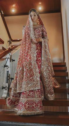 Luxury Clothing for Bride & Groom? Asian Bridal Dresses, Beautiful Bridal Dresses, Pakistani Wedding Outfits, Indian Bridal Outfits, Indian Bridal Lehenga, Wedding Dresses For Girls, Pakistani Wedding Dresses, Pakistani Dress Design, Indian Designer Outfits