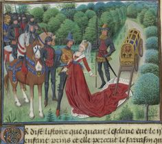 Century Burgundian dress (ugh for the dude touching her, though :/) Medieval Life, Medieval Fashion, Medieval Clothing, Medieval Art, Renaissance Art, Medieval Drawings, Medieval Manuscript, Illuminated Manuscript, Alchemy Art