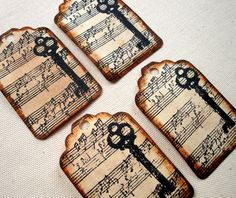Tea Stained Antiqued Music Notes with Skeleton Key - Set of 4 Hand Stamped Gift / Package Tags