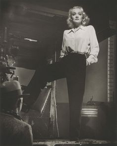 Marlene Dietrich on the set of Manpower by Laszlo Willinger, 1941
