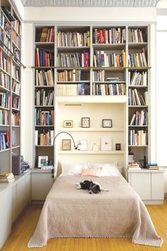 Get ideas to organize your bookshelves from these 15 stunning home libraries. Get ideas to organize your bookshelves from these 15 stunning home libraries. Library Bedroom, Bedroom Decor, Bedroom Ideas, Bed Ideas, Bedroom Lighting, Bookshelf Headboard, Bedroom Shelving, Bedroom Bookcase, Bedroom Storage